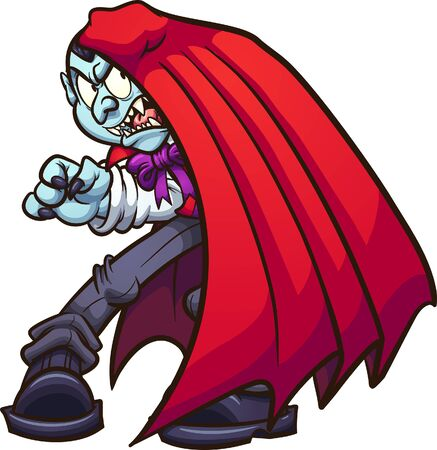 Cartoon vampire covering himself from the sun clip art. Vector illustration with simple gradients. All in a single layer.