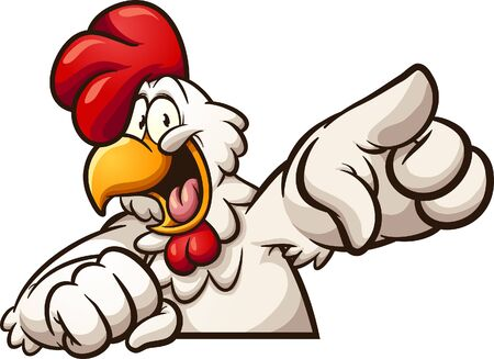 Happy cartoon chicken pointing at camera clip art. Vector illustration with simple gradients. All in a single layer. Reklamní fotografie - 131732839