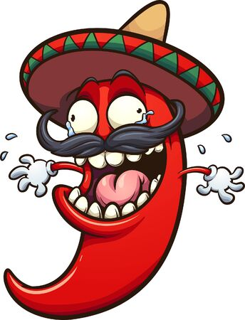 Crazy laughing and crying Mexican chili pepper clip art. Vector illustration with simple gradients. All in a single layer.
