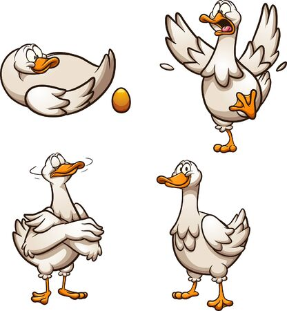 Cartoon goose with golden egg with different poses and emotions. Vector clip art illustration with simple gradients. Some elements on separate layers. Illustration