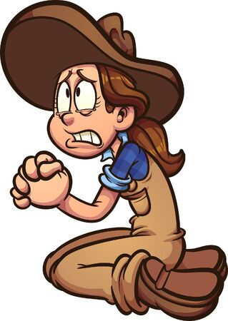Cartoon farmer girl begging or praying clip art. Vector illustration with simple gradients. All in a single layer.