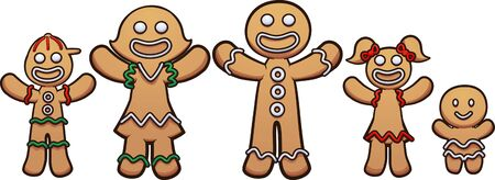 Happy gingerbread cookie family with kids clip art. Vector illustration with simple gradients. Each on a separate layer.