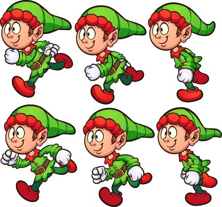 Happy running Christmas elf ready for animation clip art. Vector illustration with simple gradients. Each on a separate layer. 일러스트