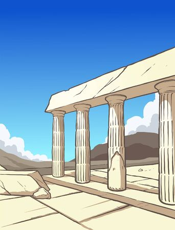 Greek ruins during day time background. Vector illustration with simple gradients. Some elements on separate layers.