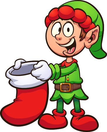 Cartoon Christmas elf holding a Christmas stocking clip art. Vector illustration with simple gradients. Some elements on separate layers.