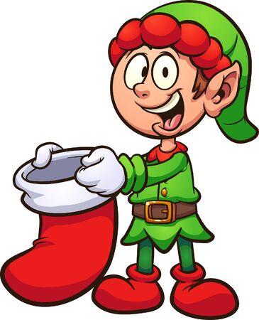 Elfo di Natale del fumetto che tiene una clip art della calza di Natale. Illustrazione vettoriale con gradienti semplici. Alcuni elementi su livelli separati. Vettoriali