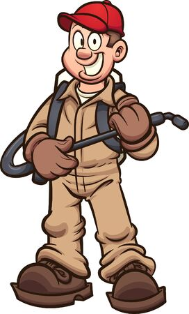 Cartoon fumigator or pest control guy clip art. Vector illustration with simple gradients. Some elements on separate layers. 일러스트