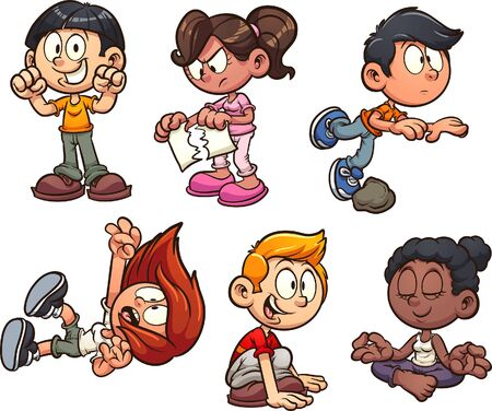 Cartoon kids performing different actions clip art. Vector illustration with simple gradients. Each on a separate layer.