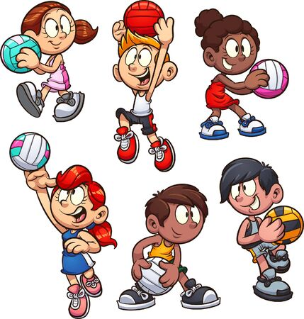 Cartoon boys and girls playing netball clip art. Vector illustration with simple gradients. Each on a separate layer. 일러스트