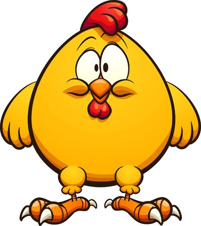 Fat yellow cartoon chicken standing and facing front clip art. Vector illustration with simple gradients. Some elements on separate layers.