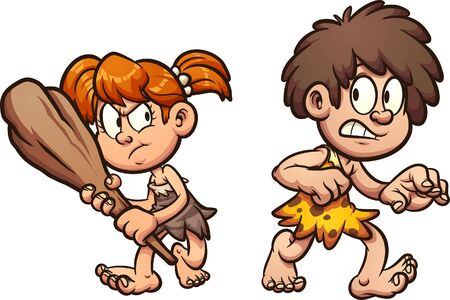 Cartoon prehistoric boy and girl walking scared clip art. Vector illustration with simple gradients. Each on a separate layer. 일러스트