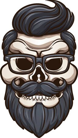 Angry cartoon hipster skull with mustache, beard and glasses clip art. Vector illustration with simple gradients. All in single layer.