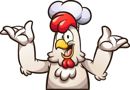 Happy cartoon chef chicken with arms up. Vector clip art illustration with simple gradients. All in a single layer.  일러스트