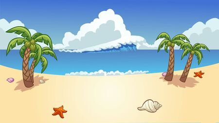 Beach background with palm trees, wave and seashells clip art. Vector illustration with simple gradients. Some elements on separate layers.