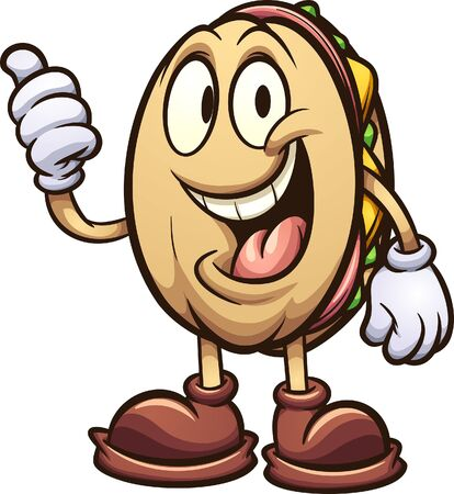 Torta Mexican sandwich cartoon character clip art. Vector illustration with simple gradients. All on a single layer.