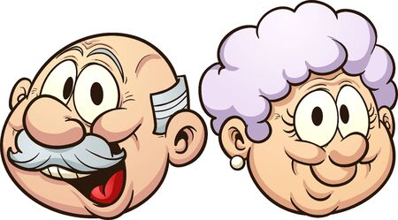 Grandparents grandmother and grandfather heads with smiles clip art. Vector  cartoon illustration with simple gradients. Each in a separate layer.  일러스트
