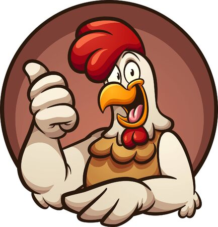 Chicken with thumbs up hand sign, coming out of a circle clip art. Vector  cartoon illustration with simple gradients. All in a single layer. 일러스트