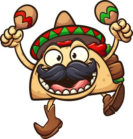 Crazy taco with Mexican hat and maracas clip art. Vector  cartoon illustration with simple gradients. All in a single layer.