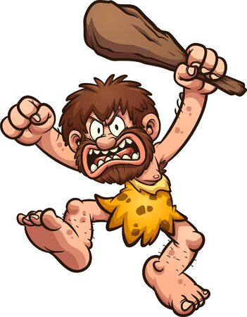 Angry caveman waving a big club over his head clip art. Vector  cartoon illustration with simple gradients. All in a single layer.