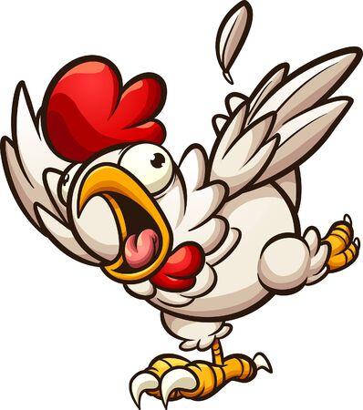 Pollo spaventato che corre e urla clipart. Illustrazione del fumetto di vettore con semplici gradienti. Tutto su un unico strato. Vettoriali