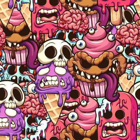 Monster desserts seamless pattern cartoon. Vector clip art illustration with simple gradients. Some elements on separate layers.  일러스트