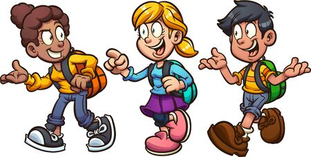 School kids with backpacks walking and talking cartoon. Vector clip art illustration with simple gradients. Some elements on separate layers.  일러스트