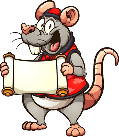 Chinese rat wearing traditional clothes and holding a blank scroll cartoon. Vector clip art illustration with simple gradients. All in a single layer.