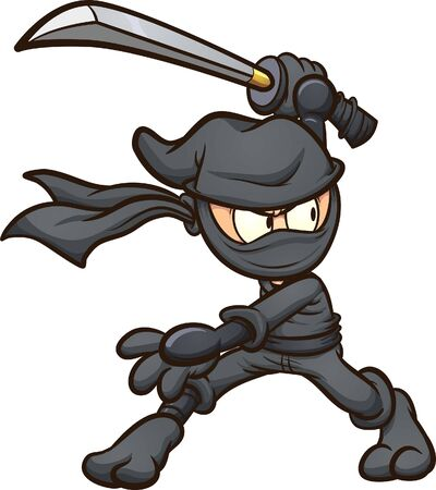 Ninja in black garb striking a pose with katana cartoon. Vector clip art illustration with simple gradients. All in a single layer.  일러스트