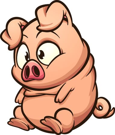 Fat little pig sitting and looking cute cartoon. Vector clip art illustration with simple gradients. All in a single layer.