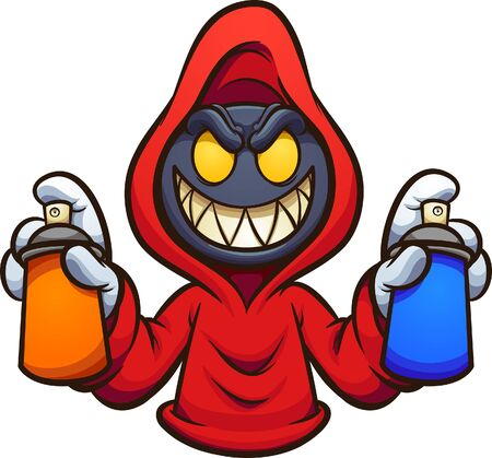 Evil hooded character with graffiti spray cans cartoon. Vector clip art illustration. All in a single layer.