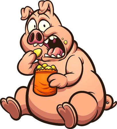얼굴 만화에 놀란 표정으로 칩을 먹는 뚱뚱한 돼지. 간단한 그라디언트 벡터 클립 아트 그림입니다. 모두 단일 레이어에 있습니다.