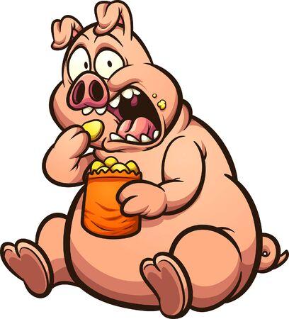 Maiale grasso che mangia patatine con uno sguardo sorpreso sul suo cartone animato in faccia Illustrazione di arte di clip di vettore con semplici gradienti. Tutto su un unico strato.