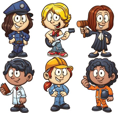 Kids using costumes for different occupations. Vector clip art illustration with simple gradients. Each on a separate layer. 일러스트