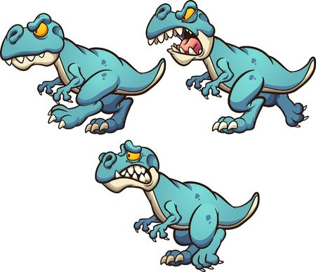 Dinosaur with different poses and expressions, ready for animation. Vector cartoon clip art illustration with simple gradients. Some elements on separate layers.