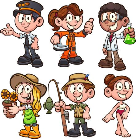 Girls and boy wearing different occupations costumes. Vector cartoon clip art illustration with simple gradients. Each on a separate layer.