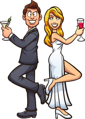 White bride and groom wearing formal attire, back to back with alcoholic beverages on hand. Vector cartoon clip art illustration with simple gradients. Each on a separate layer.