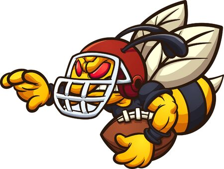 Hornet wasp or bee sport mascot holding a football and wearing a helmet. Vector cartoon clip art illustration with simple gradients. Each on a separate layer.