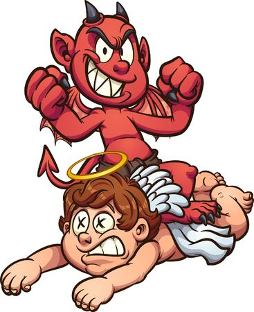 Devil kid standing over defeated kid angel. Vector cartoon clip art illustration with simple gradients. All on a single layer.