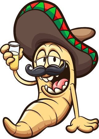 Mezcal or tequila worm sitting drunk with a big smile and wearing a Mexican hat. Vector cartoon clip art illustration with simple gradients. All on a single layer.