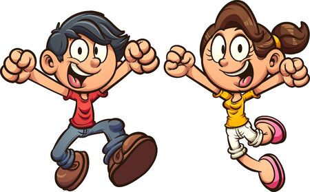 Happy cartoon kids excited and jumping . Vector clip art illustration with simple gradients. Each on a separate layer.