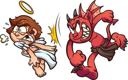 Diavolo che prende a pugni l'angelo in faccia. Vector l'illustrazione di arte di clip del fumetto con i gradienti semplici. Ciascuno su un livello separato. Vettoriali