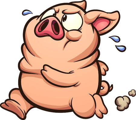 Fat little running pig sweating cartoon. Vector clip art illustration with simple gradients. All on a single layer.