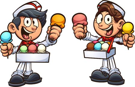 Boy and girl selling ice cream in retro usher uniform. Vector cartoon clip art illustration with simple gradients. Each on a separate layer.