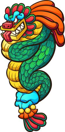 Quetzalcoatl feathered serpent god cartoon. Vector clip art illustration with simple gradients. All on a single layer.
