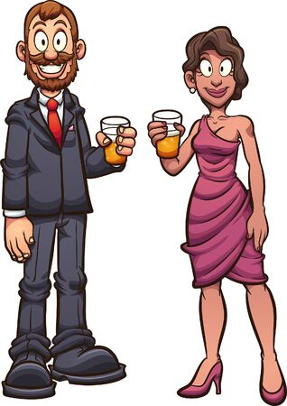 Couple dressed in elegant clothes and holding a glass of beer. Vector clip art illustration with simple gradients. Each on a separate layer.