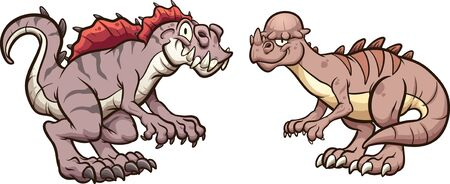 Pachycephalosaurus  and acrocanthosaurus dinosaurs smiling and standing in front of each other. Vector cartoon clip art illustration with simple gradients. Each on a separate layer.
