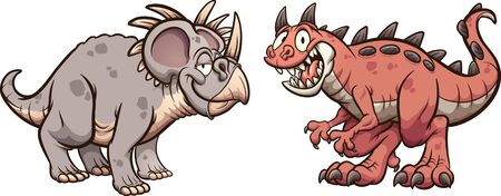 Styracosaurus and carnotaurus dinosaurs smiling and standing in front of each other. Vector cartoon clip art illustration with simple gradients. Each on a separate layer.