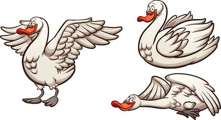 Cartoon swan in different  flying standing and swimming. Vector cartoon clip art illustration with simple gradients. Each on a separate layer.