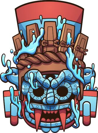 Mexican prehispanic Tlaloc Aztec god water vessel. Vector clip art illustration with simple gradients. All on a single layer.