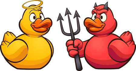 Cartoon angel and devil rubber ducks. Vector clip art illustration with simple gradients. All in a single layer.